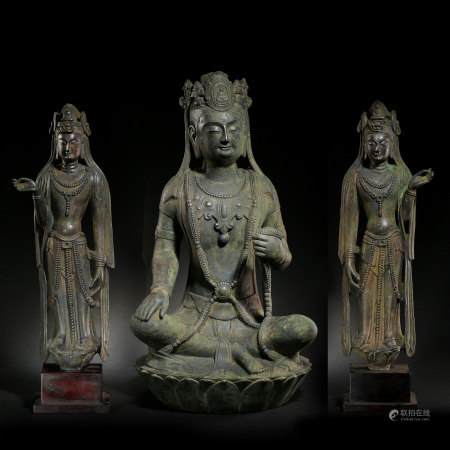 A CHINESE FINE SILVER GUANYIN STATUE, NORTHERN QI DYNASTY