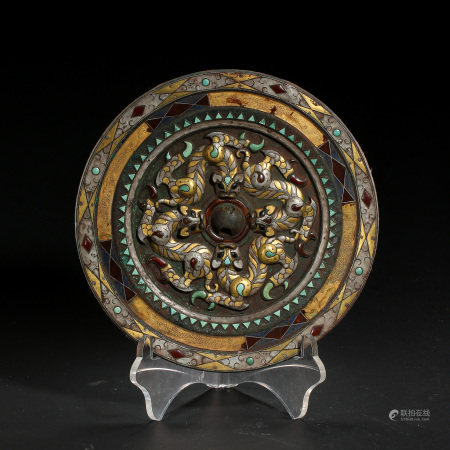 AGATE MIRROR INLAID WITH GOLD, SILVER AND TURQUOISES, WARRING STATES PERIOD, CHINA