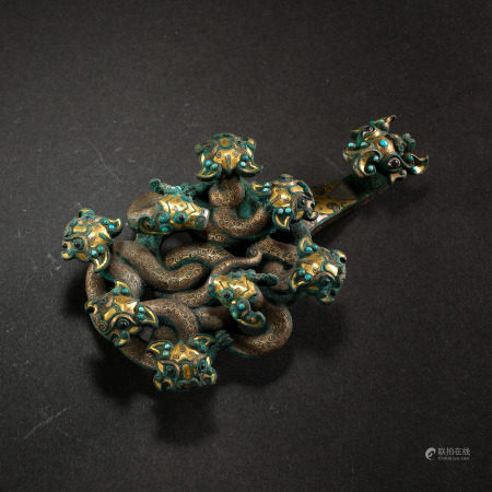 CHINESE BELT HOOK INLAID WITH GOLD, SILVER AND TURQUOISES, WARRING STATES PERIOD
