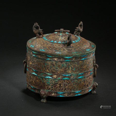 CHINESE BRONZE FOOD BOX LAID WITH GOLD AND TURQUOISES, WARRING STATES PERIOD