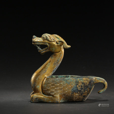 CHINESE GILT BRONZE BEAST, TANG DYNASTY