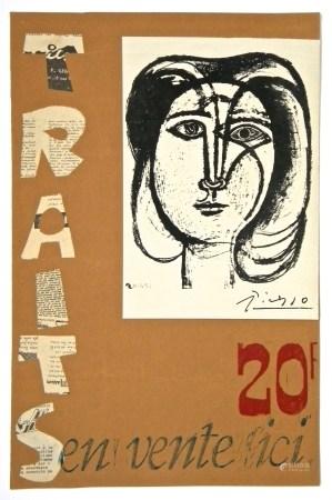 Pablo Picasso lithograph poster and collage | Traits, Tete de femme
