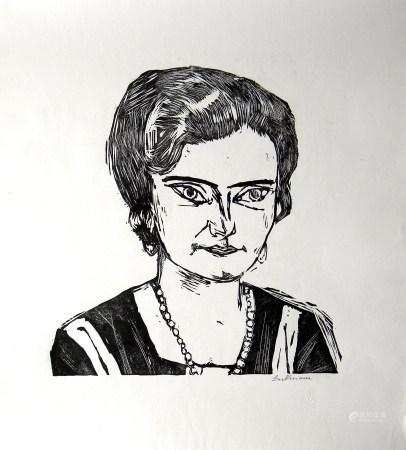 Max Beckmann Bildnis Frau H.M. Naila signed original woodcut
