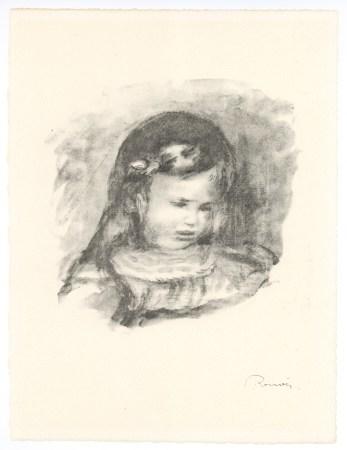 """Pierre-Auguste Renoir """"Claude Renoir, Fils de l'Artiste, la Tete Baisee"""" original lithograph"""