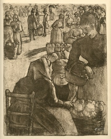 """Camille Pissarro """"Marche aux Legumes, a Pointoise"""" original etching"""