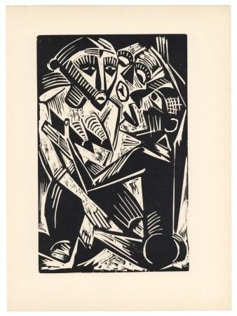 """Max Pechstein original woodcut """"Woman Desired by Man"""" (Weib vom Manne begehrt)"""