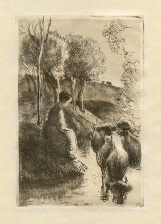 """Camille Pissarro """"Vachere au Bord de l'Eau"""" original etching on japon paper"""