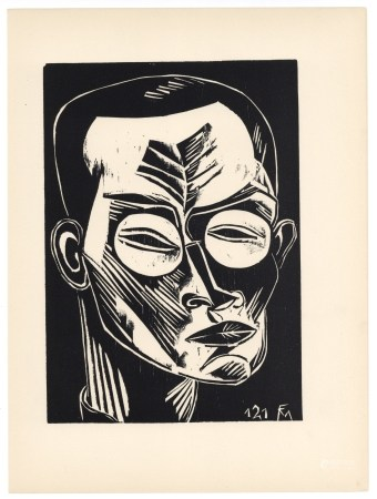 "Conrad Felixmuller original woodcut ""Self Portrait"""