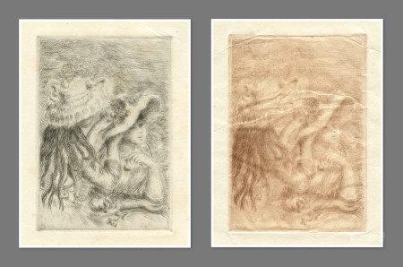 "Renoir ""Le chapeau epingle"" pair of etchings on japon paper - two states"