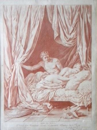 "Louis-Marin Bonnet ""Mars et Venus"" rare crayon engraving, 1772"