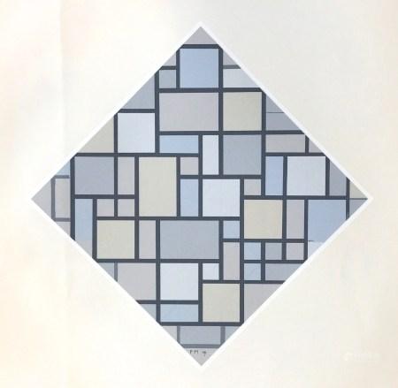"""Piet Mondrian serigraph """"Composition avec couleurs claires et lignes gris"""""""