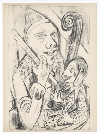 """Max Beckmann original lithograph """"Pierrot and Mask"""""""