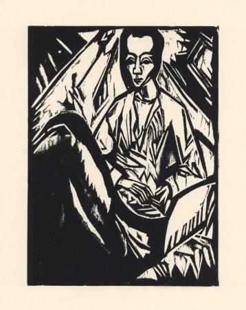 "Erich Heckel original woodcut ""Sick Girl"" (Krankes Madchen)"