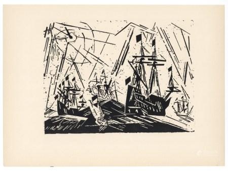"Lyonel Feininger original woodcut ""Hansa Fleet"""