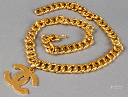 Chanel Gold-Tone Cuban Link Belt with Logo Charm