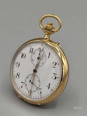 LONGINES Chronographe compt en or jaune 750°°. Numéro 2712670. Poinçon hibou. Diam: 5 cm. PB