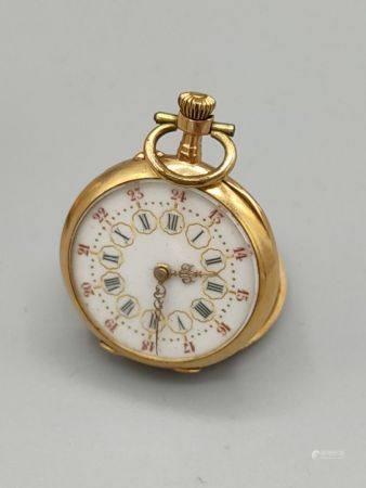 Petite montre de col en or jaune 750°° circulaire. Cadran en émail blanc à chiffres romains ent