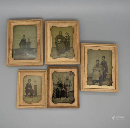 FIVE Japanese Gero type Glass Portraits, c.1860