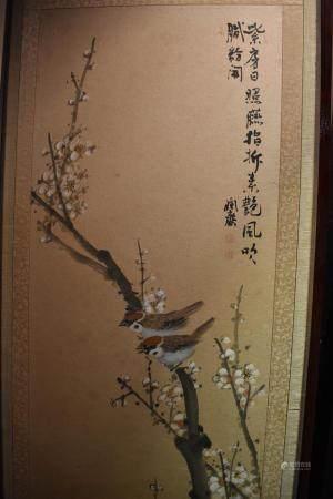 Korean Jun Sai 8 panel Screen of Birds and Flowers