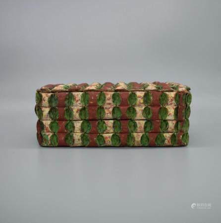 Korean Papier Mache Rectangular box and cover. Printed book