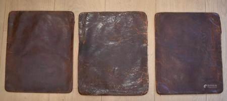 Three Italian leather cushion cover