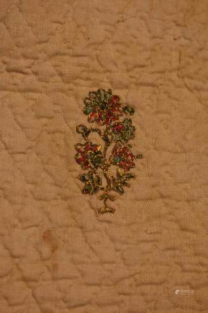 Perisian Floral Embroidery on Qilt (Iran) Mounted