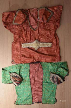 Persian Noble Childrens Clothes: Two Tops, Green and Red with deocorative cuffs and Embroidered Belt
