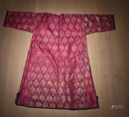 Central Asian Pink Bokuhara Robe, Metal thread Paisley Design woven russian cotton robe.