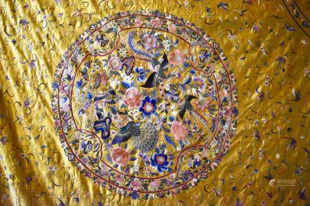 Chinese Embroidered Yellow Silk Bed spread