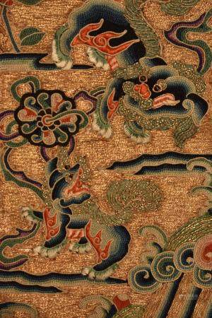 Chinese Hand embroidered Mythical Beast Textile with gold wrapped thread