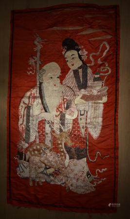 TWO ITEMS: Chinese Silk Embroidered on Satin Shoulao and Shouxing with Deer, Shoulao (God of longevity)