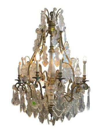 Louis XV style Ormolu & Crystal eight-light Chandelier