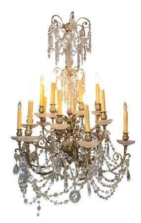 Gilt-Bronze & Cut Crystal 18-light Chandelier