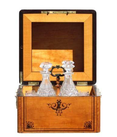 Regency Burlwood and Inlaid Liquor Tantalus