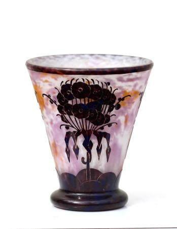 A Le Verre Francais Charder Etched glass Vase