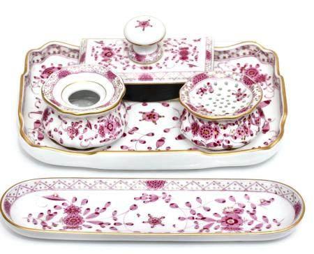 A Meissen Five Piece Porcelain Desk Set