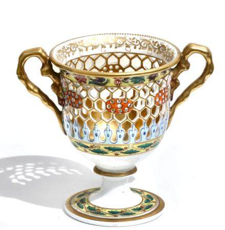 Fine Chamberlains Worcester Reticulated Porcelain Cup