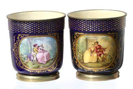 Pair of Sevres- Type Ormolu Mounted Pictorial Cache-Pot