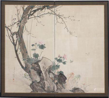Fine Two-Panel Japanese Screen