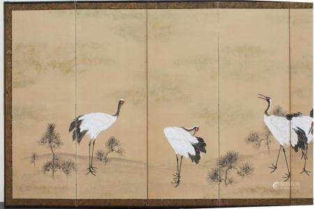Elegant Japanese Six-Panel Screen, Meiji Period