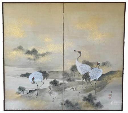 Fine Japanese Two Panel Screen, Meiji Period circa 1890