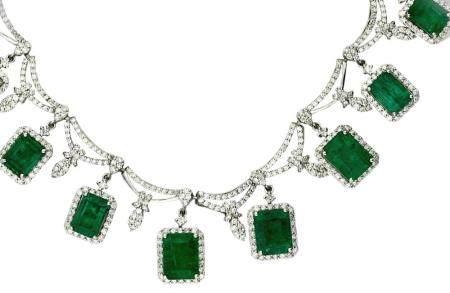 Platinum, Emerald and Diamond Necklace