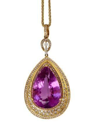 Kunzite and Diamond Pendant Necklace