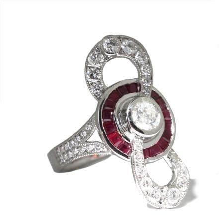Platinum Diamond and Ruby Ring