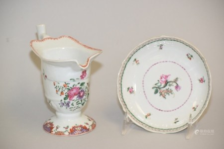 18th C. Chinese Export Porcelain Creamer and Saucer