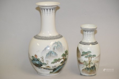 Two 1970-80s Chinese Porcelain Famille Rose Vases