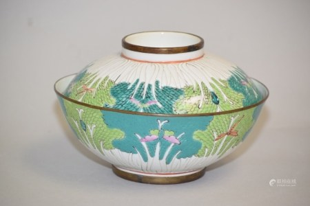 19-20th C. Chinese Porcelain Famille Rose Cabbage Bowl