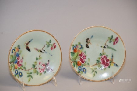 Pr. of 19th C. Chinese Export Pea Glaze Famille Rose Plates