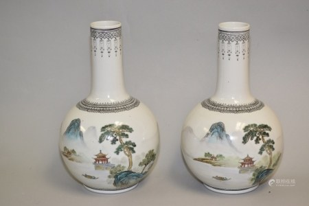 Pr. of 1970-80s C. Chinese Porcelain Famille Rose Vases