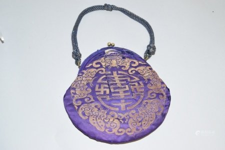 19th C. Chinese Gold Thread Embroidered Handbag